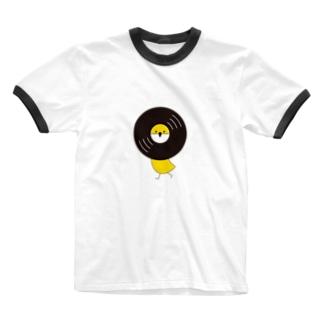 レコードリ秋の滝 -Left Walk Ringer T-shirts
