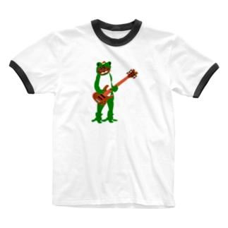 カエルベース テレコネコ Ringer T-shirts