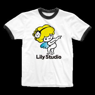 LILY STUDIOの招福の舞チーズ天使 Ringer T-shirts