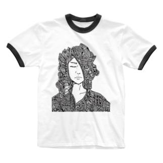 見馴れた顔 Ringer T-shirts