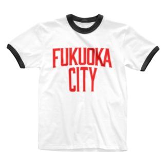 福岡シティTシャツ(レガシー赤)  Ringer T-shirts