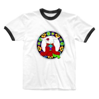 うさぎと手毬 Ringer T-shirts