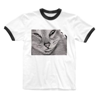イかれネッコ Ringer T-shirts
