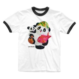 あっぱれ恵比寿パンダ親子 Ringer T-shirts