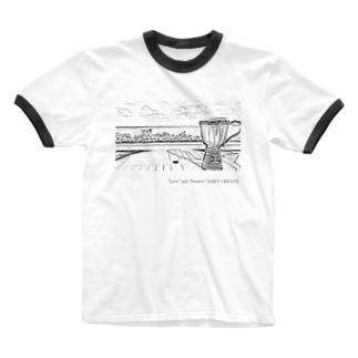 カフェから宮古の海を望むジャンベ Ringer T-shirts