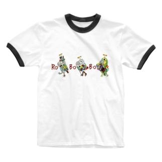ねこぜや の ROBOBO ちょびすけロボ ボルトロボ ボウ助ロボ Ringer T-shirts