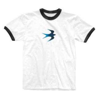 青い鳥 Ringer T-shirts
