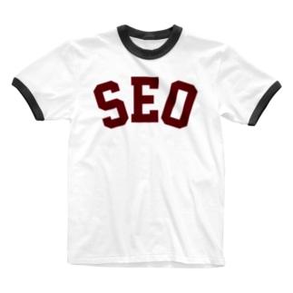SEO(えんじ) Ringer T-shirts