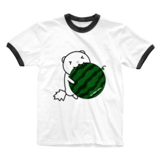 スイカにがぶりっフェレット(ホワイトブラックアイ) Ringer T-shirts