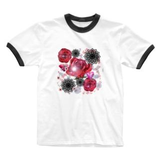 キラキラ花black Ringer T-shirts