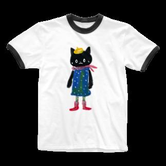 COULEUR PECOE(クルールペコ)  のねこびとさん(Pippi) Ringer T-shirts