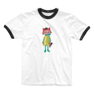 ねこびとさん(タピオカ) Ringer T-shirts