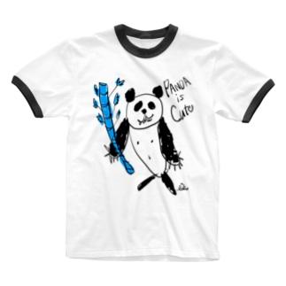 パンダ Ringer T-shirts