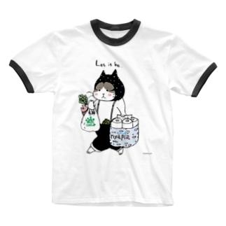 お買い物ねこ Ringer T-shirts