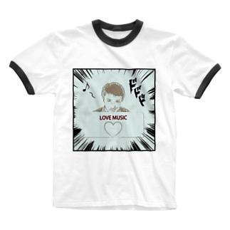 ダーク良太(LOVE MUSIC) Ringer T-shirts
