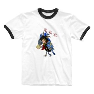 ねこぜや のROBOBOヤシオウム「教授ロボ」 Ringer T-shirts