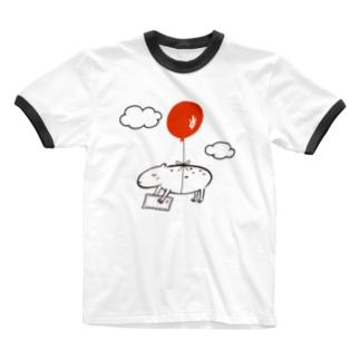 カピバラ風船 Ringer T-shirts