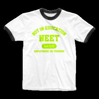 ゴンのNEET(ライムグリーン) Ringer T-shirts