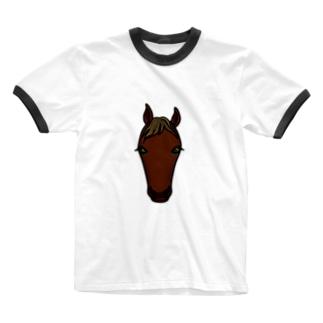 サラブレッド(鹿毛) Ringer T-shirts