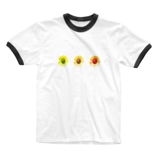 向日葵さんさん Ringer T-shirts