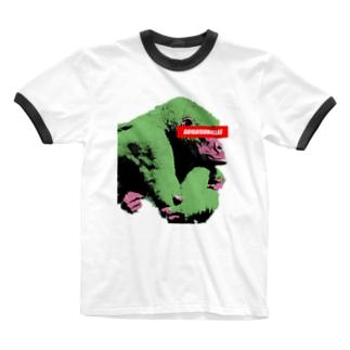 Gorilla thinks Logo (Green) Ringer T-shirts