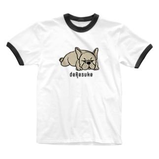 でれすけのでれすけ(フォーン) Ringer T-shirts