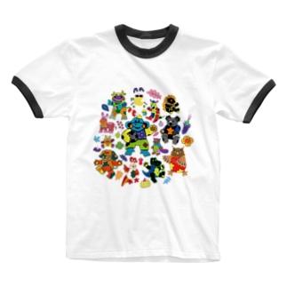 カラフルアニマル Ringer T-shirts