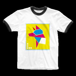 虎玉のブロックドッグ Ringer T-shirts