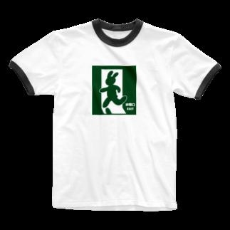 mojimojiのEXITのうさぎさん Ringer T-shirts