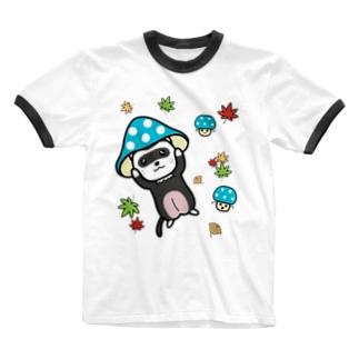 キノコフェレット(ダークシルバーミット) Ringer T-shirts