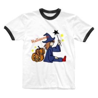 ウィッチとカボチャ Ringer T-shirts