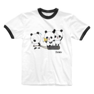 三頭のパンダ・トレーニング Ringer T-shirts