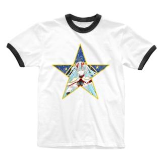 ティッシュババア(背景付き星型)リンガーTシャツ Ringer T-shirts