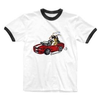 わるそうなネコ オープンカー Ringer T-shirts