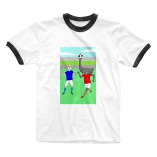 ボールを運ぶゾウ Ringer T-shirts