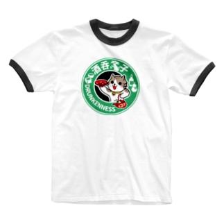 酒呑童子にゃんこ Ringer T-shirts