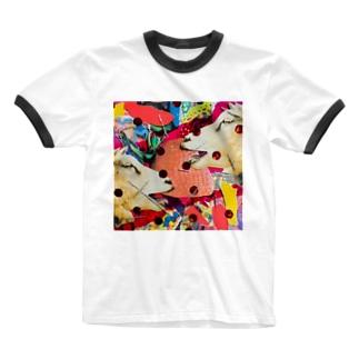 🐐🍓🐐ヤギとイチゴ🐐🍓🐐 Ringer T-shirts