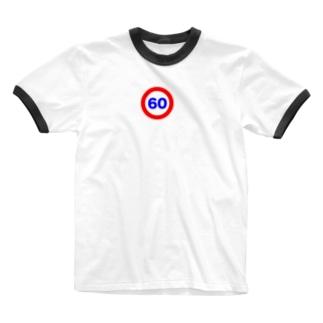 街中標識シリーズ 時速ロゴ Ringer T-shirts