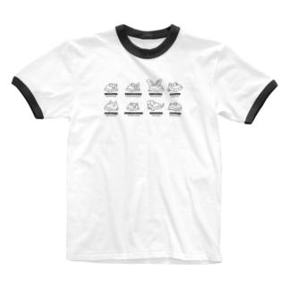 Bat Company(モノクロ) Ringer T-shirts