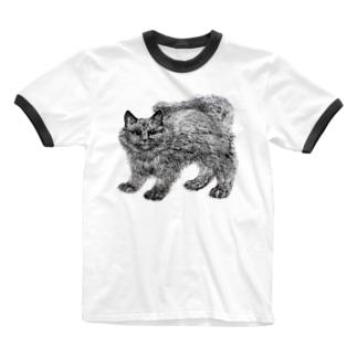 ふわふわの仔猫 Ringer T-shirts