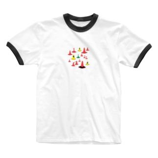 もりもり三角コーン Ringer T-shirts