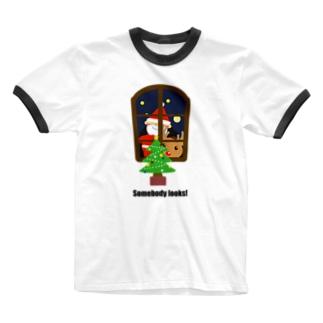 物イラスト211 クリスマスの車窓から Ringer T-shirts