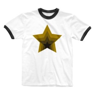 星のくぼみ Ringer T-shirts