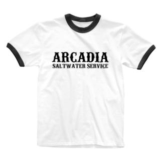 ARCADIA SALTWATER SERVICE BLACK#1 Ringer T-shirts