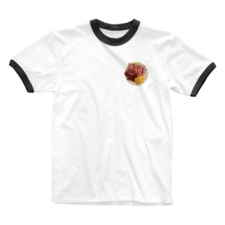 朝食Breakfast Ringer T-shirts