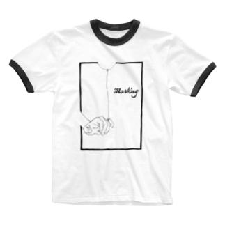 Marking -風船- Ringer T-shirts