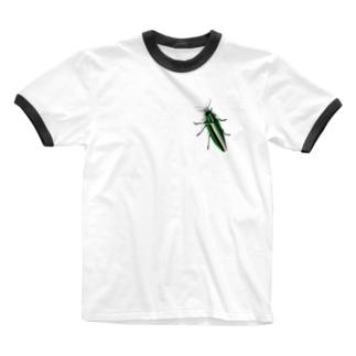 いたずらデザイン(ちょっとタマムシついてますよ) Ringer T-shirts