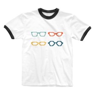 4色めがね Ringer T-shirts