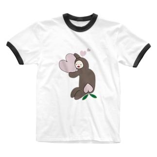 モモモモンキー Ringer T-shirts