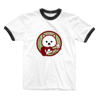 パ紋No.3331 しゅくり Ringer T-shirts